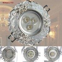 Guirnalda de plata europea para interiores, lámpara empotrada de 3W, 5W, 7W, 7,5 Cm, para sala de estar y baño