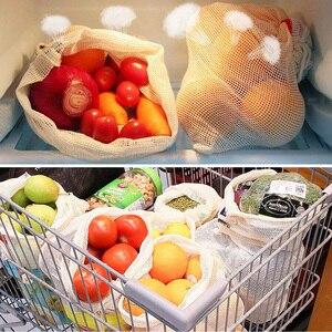 Image 4 - 재사용 쇼핑 가방 100% 코 튼 야채 과일 저장 가방 메쉬 식료품 쇼핑 제품 가방 여성 빨 가방