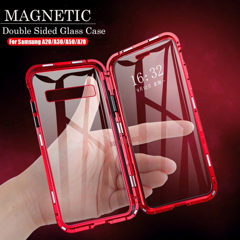 Magnetic Metal <font><b>Case</b></font> For <font><b>Samsung</b></font> Galaxy A20 A30 A50 A70 Double Side tempered <font><b>glass</b></font> cover On samsun <font><b>a</b></font> 20 30 50 <font><b>70</b></font> adsorption coque image