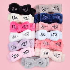 2020 New OMG Letter Coral Fleece Wash Face Bow Hairbands For Women Girls Headbands Headwear