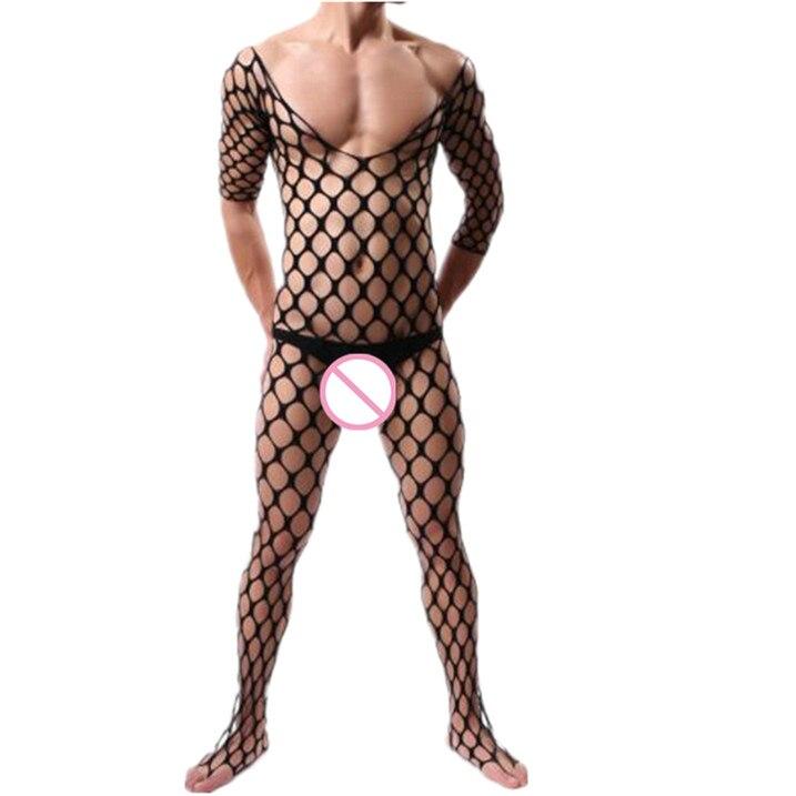 Men Pajamas Sexy Lingerie Porno Hot Exotic Bodysuit Sleepwear Sexy Costumes Mesh Body Stockings Jumpsuits Fishnet Sex Underwear