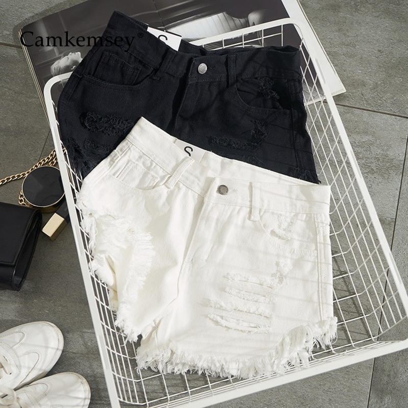 CamKemsey Summer White Denim Shorts Women Fashion Ripped Holes Cuffed Tassel Casual High Waist Black Jeans Hot Shorts