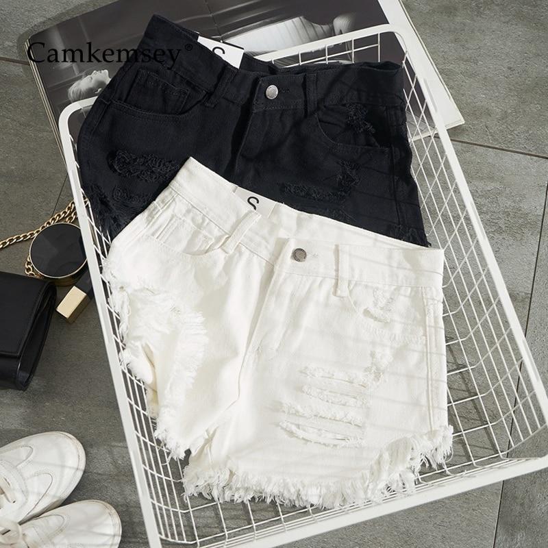 CamKemsey Summer White Denim Shorts Women Fashion Ripped Holes Cuffed Tassel Casual High Waist Black Jeans Hot Shorts