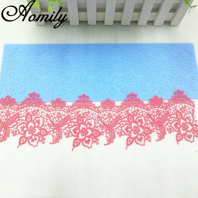 Aomily Lace Flower Wedding 40x9.5cm Cake Silicone Beautiful Flower Lace Fondant Mold Mousse Sugar Craft Icing Mat Pastry Tool