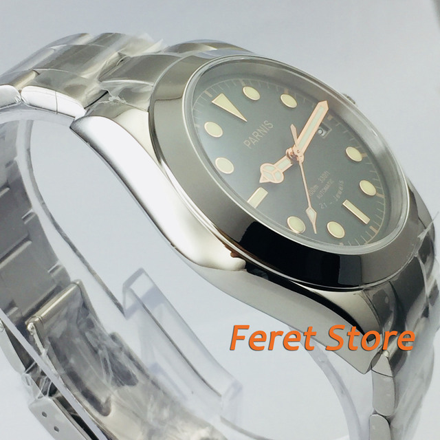 40mm Parnis Sapphire Green black Dial stainless steel case Automatic Movement Mens Watches
