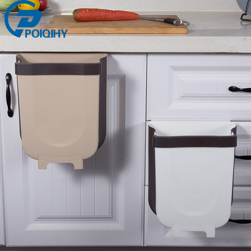 POIQIHY Foldable Hanging Trash Can Clean Kitchen Removable Kitchen Trash Can Easy To Fold Save Room For Car Free Shipping ABS