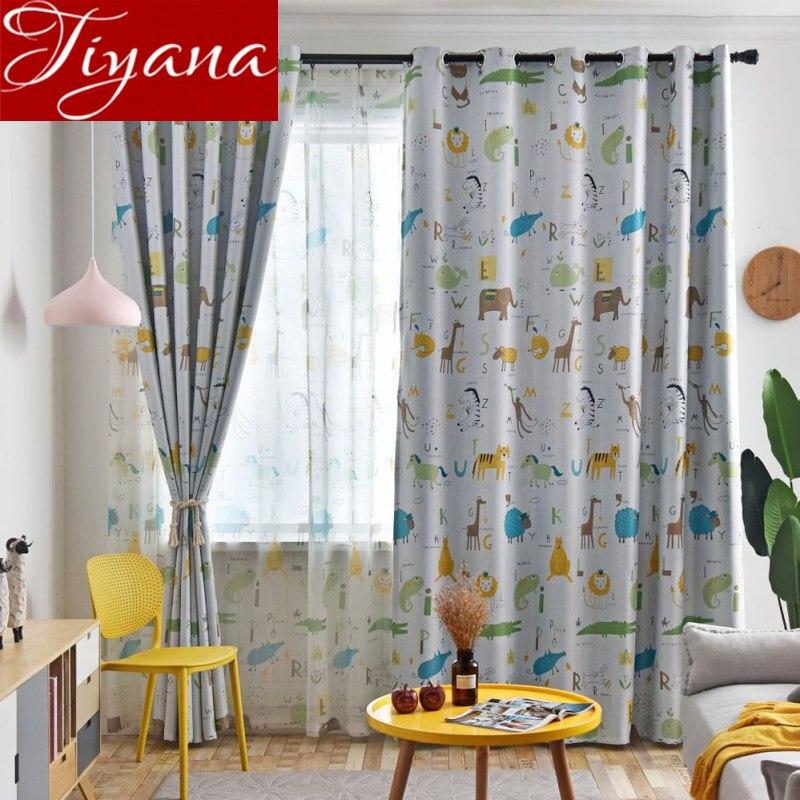Cartoon Tiger Giraffe Kids Boys Room Animals Design Blackout Curtain Window Bedroom Drape Sheer Fabric Treatment Custom T&421#30