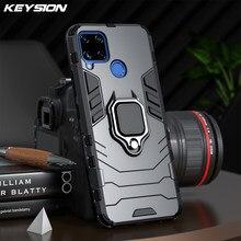 Keysion caso armadura à prova de choque para realme c15 c17 c12 c11 v5 anel suporte silicone telefone volta capa para oppo realme q2 q2 pro