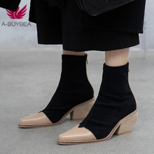 купить High Quality Patchwork Genuine Leather Ankle Boots Suede Sexy Pointed Toe Female Shoes Woman Footwear 2019 New Spring/Autumn по цене 2708.81 рублей
