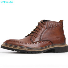 QYFCIOUFU Mens Shoes Boots Luxury Goodyear Welted Derby Boots Genuine Leather Black Ankle Boots American Work Indian Boots Shoes sipriks luxury mens dress shoes unique designer derby shoes handsome sewing welted shoes rubber sole work flats 2018 new style