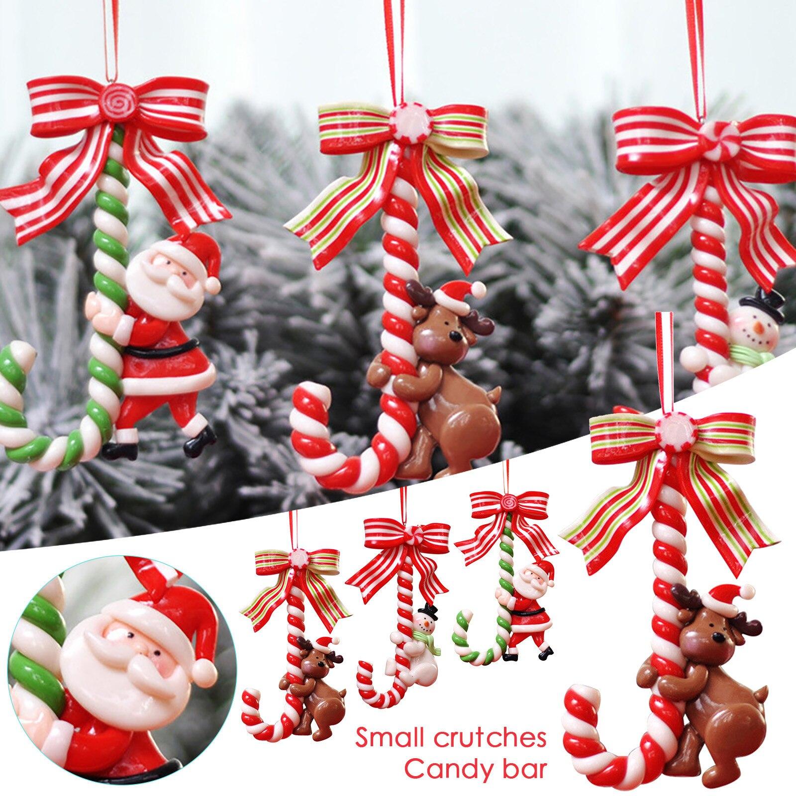 1 unidades/pacote para o ano novo festa de natal dos miúdos presente natal pendurado cane doces ornamentos da árvore de natal muleta pingente decoração