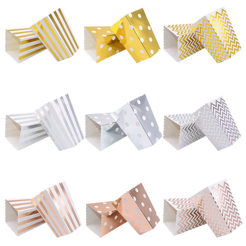 6/12pc Gold Silver Dot Wave Striped Paper Popcorn Box Pop Corn Candy/ Sanck Favor Bag Xmas Wedding Kid Birthday Party Decoration