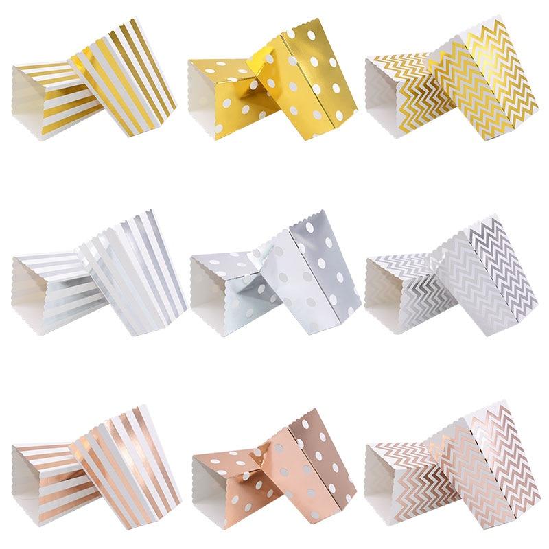 6/12pc Gold Silber Dot Welle Gestreiften Papier Popcorn Box Pop Mais Süßigkeiten/Sanck Favor Tasche Weihnachten hochzeit Kid Birthday Party Dekoration
