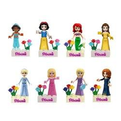 Фигурки принцесс королевы совместимые Legoinglys Friends Анна Эльза Русалка Ариэль Белоснежка строительные блоки кирпичи игрушки модель подарок