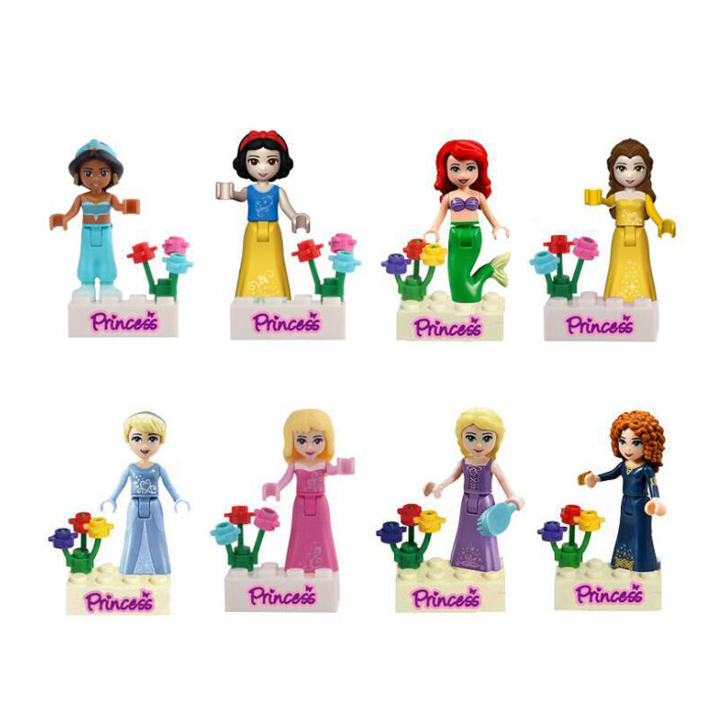Queen Princess Figures Compatible Lepining Friends Anna Elsa Mermaid Ariel Snow White Building Blocks Bricks Toys Model Gift