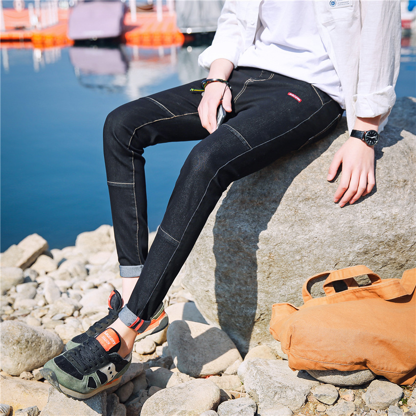 MEN'S Jeans Spring And Summer-Elasticity Pants Black And White With Pattern Skinny Pants Slim Fit Teenager Korean-style Men'S We
