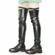 Fashion Sneakers Women Stretchy Over The Knee High Boots Pull On Platform Oxfords Shoes Round Toe Punk Goth Creepers US5-US10.5