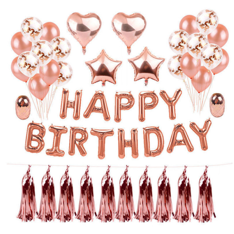 Rose Gold Latex Helium Balloon 30 40 <font><b>50</b></font> 60 70 80 90th <font><b>Birthday</b></font> <font><b>Happy</b></font> Party Decoration image