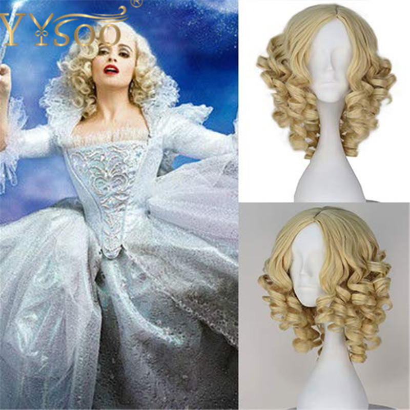 YYsoo The Movie Cinderella Godmother Short Twisted Curls Blonde Wig Synthetic None Lace Women Short Curly Yellow Anime Wig
