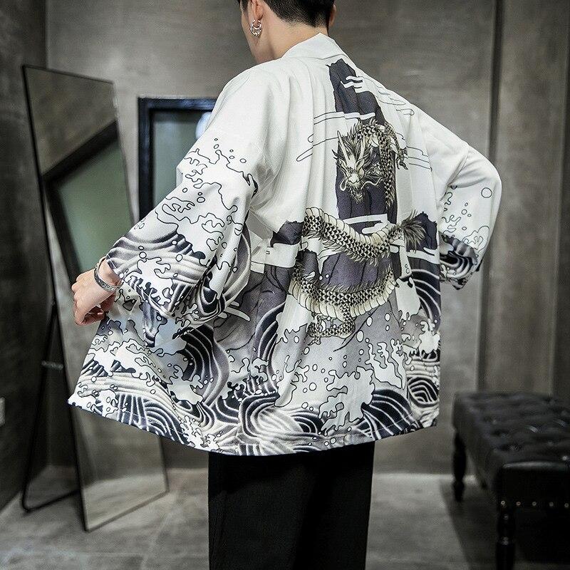 Yukata Kimono Cardigan Men Japanese Kimono Men Print Asia Kimono Cosplay Costume Top Beach Thin Casual Coat Sun Protection Shirt