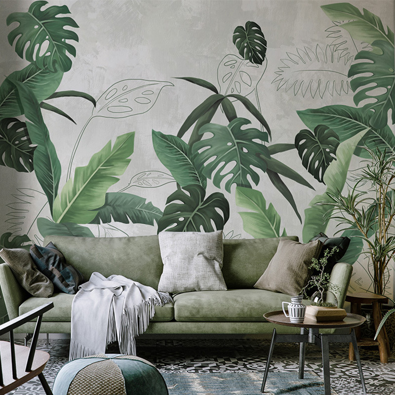 Rui Xi Southeast Asian Rainforest Plant Wallpaper Green Northern European-Style Leaves Mural Bedroom TV Backdrop Wall Wallpaper