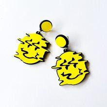 Exagero brincos de acrílico criativo terror amarelo face deformação geometria brincos engraçados para mulheres jóias presentes de festa novo