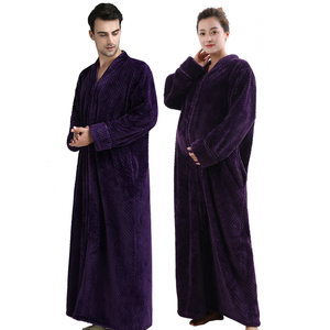 Image 3 - Women Plus Size Thickening Flannel Extra Long Thermal Bathrobe Lovers Zipper V Neck Winter Warm Bath Robe Pregnant Wedding Robes