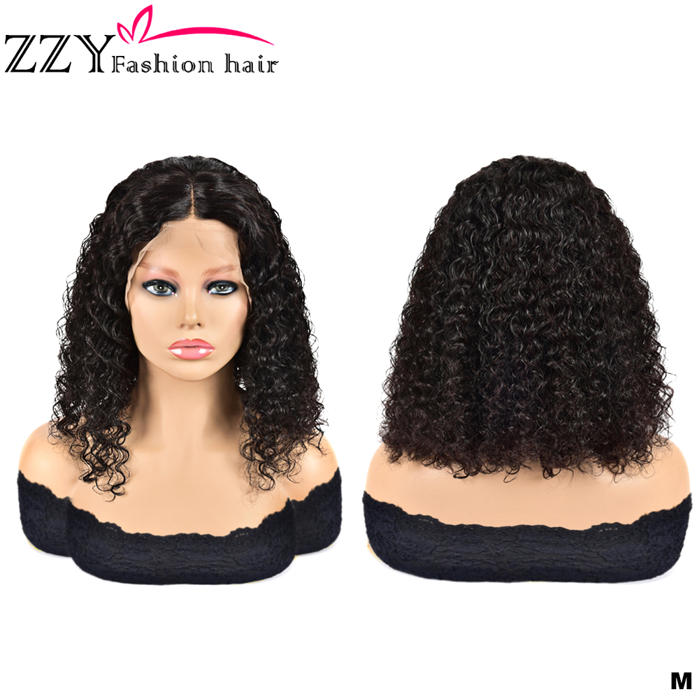 ZZY Fashion Hair Curly Bob Lace Front Human Hair Wigs 150% Density Natural Color Non-remy Brazilian 13x4 Lace Front Wig
