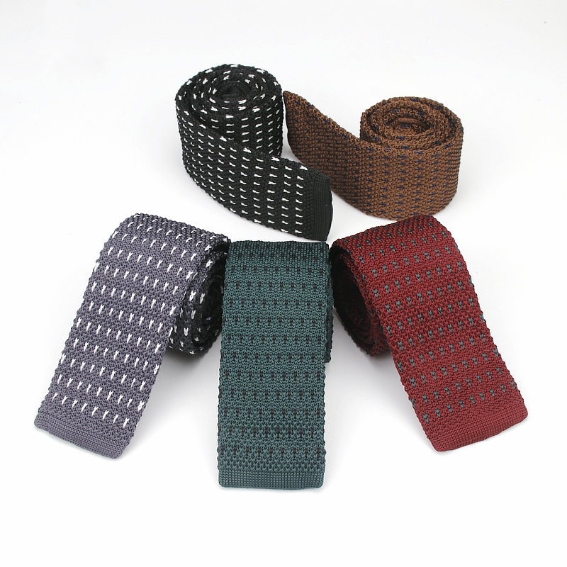 Vintage Smart Casual Mens Solid Skinny Knit Tie For Groom Various Colors