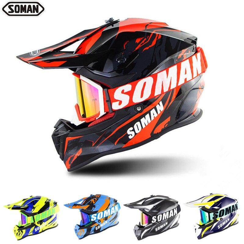 SOMAN Dirt Bike Helmet Motocross ECE Dh Helmets Goggles Motorcycle Motocross Helmet Racing MX Casco Moto Off Road Helmets SM633