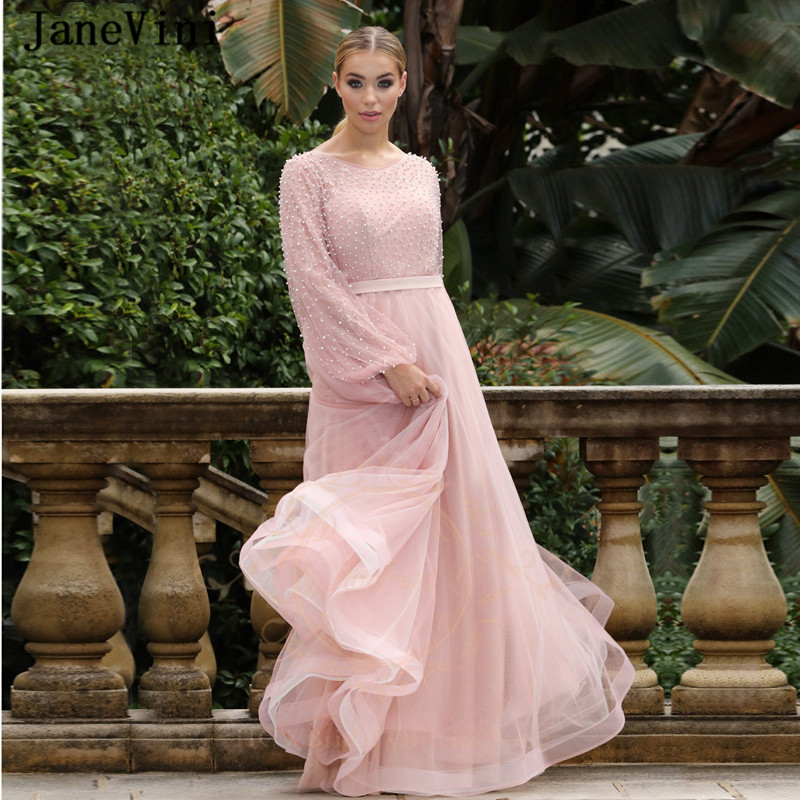 JaneVini 2020 Luxury Dusty Pink Prom Dresses with Puffy Long Sleeve Scoop Neck Pearls Tulle Floor Length A Line Prom Party Gowns