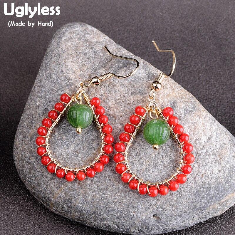 Perles d'agate sans Uglyless boucles d'oreilles goutte d'eau pour femmes naturel ambre Jade boucles d'oreilles réel 925 argent Brincos Bijoux bijou E1642