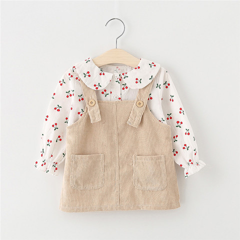 Baby Girl Dress Autumn Baby Princess Clothes Cute Print Cherry Long Sleeve T-shirt Tops With Corduroy Dress 2pcs Clothes Suits Lahore