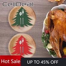 Cutlery-Holder Organizer Christmas-Tree-Cutlery-Bag Party-Decor New-Year Forks Pockets