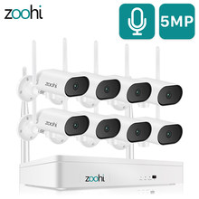 Zoohi 1920p pan & tilt wifi câmera conjunto 5mp sistema de câmera segurança gravação som visão noturna sistema vigilância ao ar livre