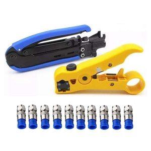 Инструмент для сжатия коаксиальный кабель комплект для обжима Регулируемый Rg6 Rg59 Rg11 75-5 75-7 коаксиальный кабель для зачистки с 10 шт. F компресс...