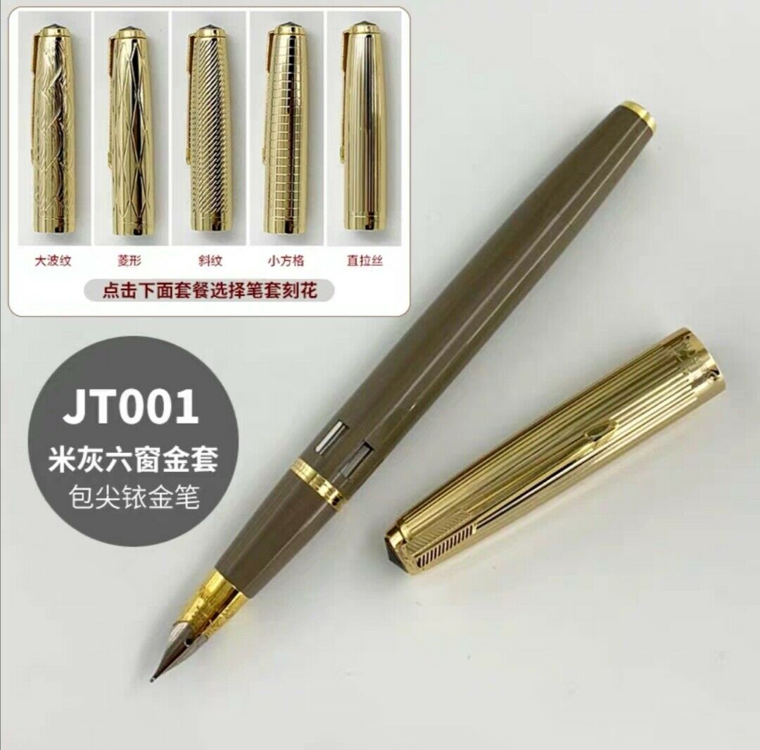 Wing Sung 601A Vacumatic Fountain Pen Beige Gray With Ink Window Ink Pen Gold Cap Fine Nib Stationery Office school supplies