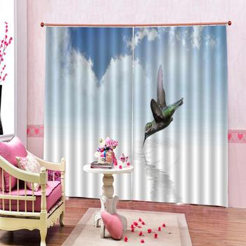 blue sky curtains Customized size Luxury Blackout 3D Window Curtains For Living Room Drapes Cortinas