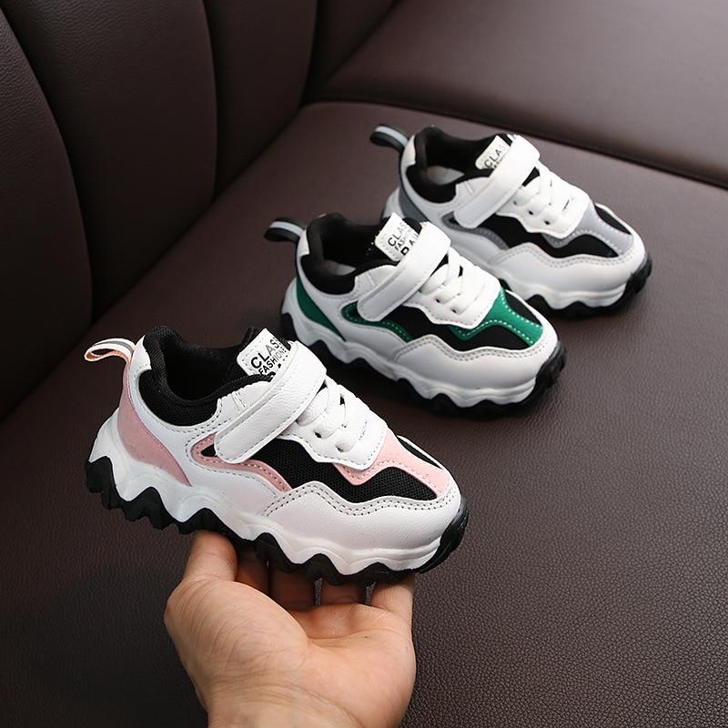 2020 Spring New Childrens Sports Shoes Girls Non-slip Wave Bottom Fashion Boys Travel Shoes Little Children's Shoes Mesh C12272