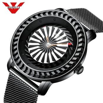 NIBOSI Mens Watches Top Brand Luxury Unique Dial Move Quartz Watch Casual Wristwatch Mesh Waterproof Watch Men Relogio Masculino
