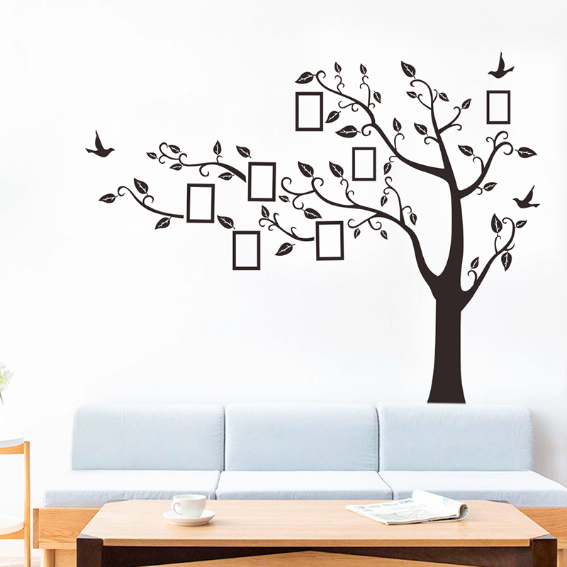 220*162CM Black 3D DIY Photo Frame Family Tree Wall Decals Self Adhesive Wall Stickers Removable Vinyl Mural Art Home Decor