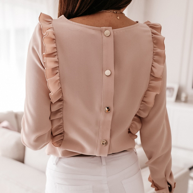 2021 Spring Autumn O Neck Ruffle Solid Shirts Elegant Office Lady Back Metal Buttons Blouses Casual Women Long Sleeve Chic Tops 4