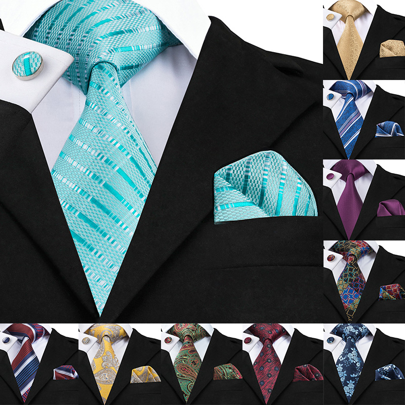Mens Tie Blue Stripe Silk Jacquard Necktie Hanky Cufflink Set Business Wedding Party Ties For Men Men's Gift C-703