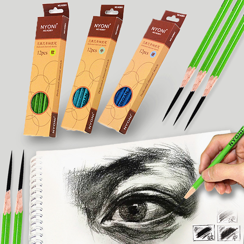 6 Pcs Professional Sketching Charcoal Pencil N-2801 Drawing Carbon Pen Soft Medium Hard Manga Painting Supplies