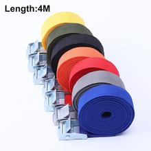 4 Meters Buckle Tie-Down Belt Cargo Strap for Car motorcycle Bike With Metal Buckle Tow Rope Strong Ratchet Belt for Luggage Bag 1m car tension rope tie down strap strong ratchet belt luggage bag cargo lashing with metal buckle tow rope tensioner