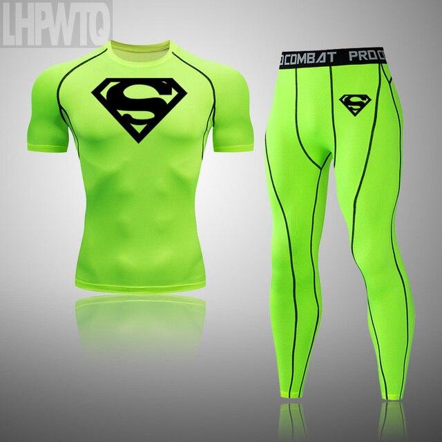 Superman 3 Pcs Sets Men s Short sleeve Sportswear Compression Suit Fitness Gym Set Elastic Basketball Workout Running Clothes