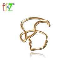 F.J4Z 100% Real S925 Silver Trend Rings Fashion Brand Design Hollow Face Outline Adjustable Cuff Finger rings for women