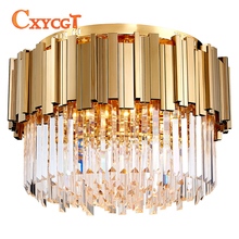 Luxury Modern Round LED Crystal Lamp Bedroom Hotel Living Room Furniture Lighting Fixtures