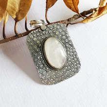 Индийские Винтажные Ювелирные изделия медь инкрустация природным камнем кристалл большие прямоугольные Подвески TBP762