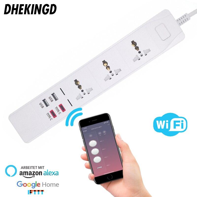 Multiprise intelligente Wifi avec prise universelle 3 prises 2 USB 2 type-c Station de charge fonctionne avec les prises Alexa Google Home UK/AU/EU/US/SA
